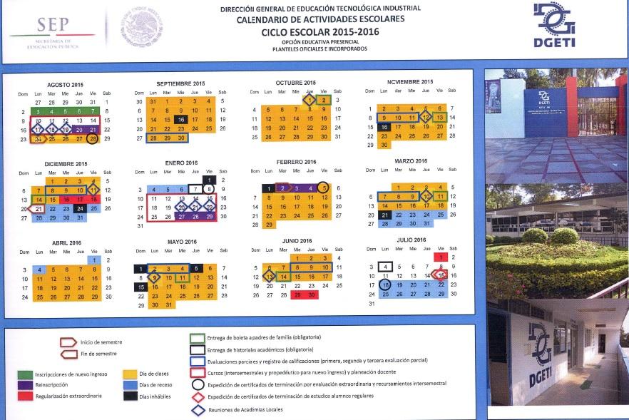 Calendario escolar- Cetis 123